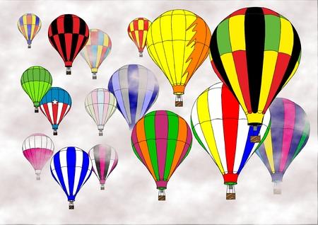 흐린 하늘에서 떠도는 많은 다채로운 뜨거운 공기 풍선