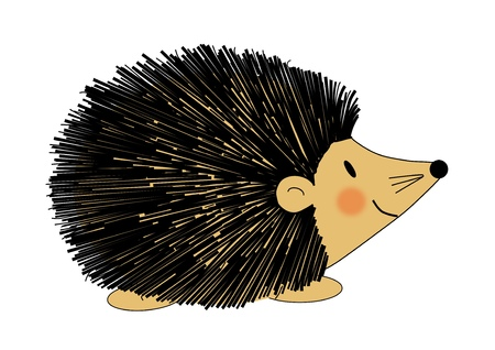 endearing: Illustration of a fuzzy black and brown hedgehog