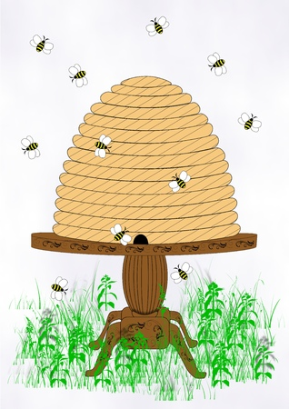 Illustration of an old fashioned bee hive sitting on a table in a grassy field among buzzing bees