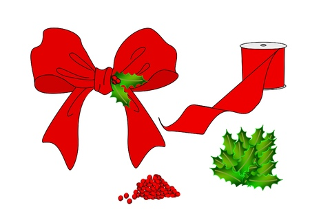 An illustration of a bright red Christmas bow along with the components for making it