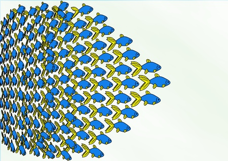 small group of animal: An illustration of a swimming school of bright blue fish