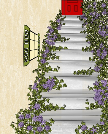 An illustration of cement stairs covered in ivy and flowers leading up to a red door