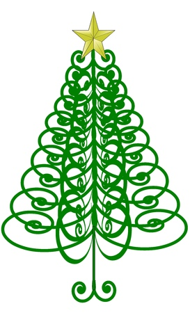 An illustration of a stylized Christmas tree made of curls with a star on top