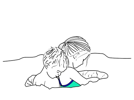 A line drawing of a small boy and girl playing in a hole that they dug in the sand Stock Photo