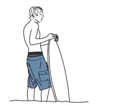 A line drawing of a young man standing on the shore with his surfboard