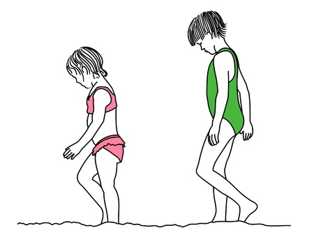A line drawing of two young girls walking along the shore