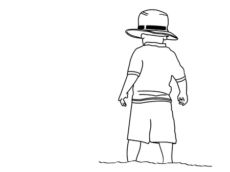 A line drawing of a small boy standing on the beach wearing his grandpaâ??s hat Stock Photo