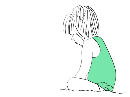 A line drawing of a small girl sitting on the shore deep in thought