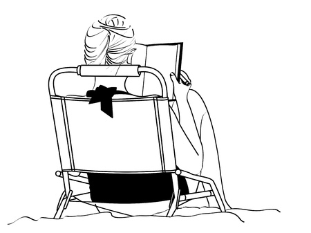 A line drawing of an young woman studying as she sits in a beach chair Stock Photo