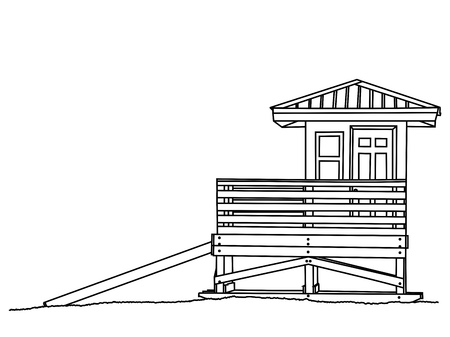 A line drawing a lifeguard shack sitting on the beach