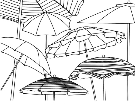 A line drawing of many different styles of beach umbrellas