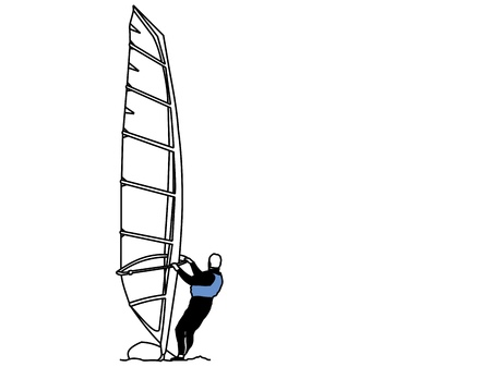 A line drawing of man riding a windsurfer