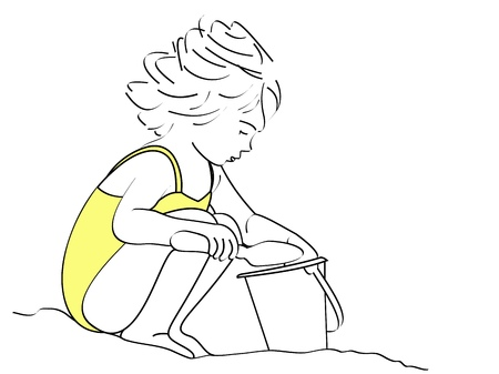 A line drawing of a small girl shoveling sand in her bucket on a windy day at the beach