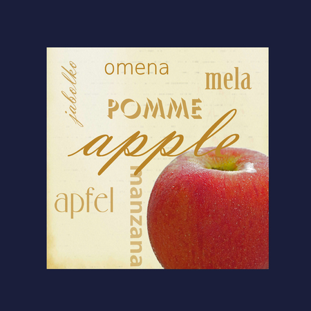 A photograph of an apple framed in dark blue surrounded by the word apple in several different languages.
