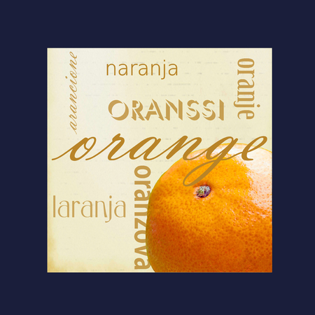 A photograph of an orange framed in dark blue surrounded by the word orange in several different languages.