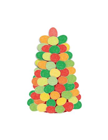 여러 가지 빛깔 된 gumdrops 만든 크리스마스 트리의 드로잉.