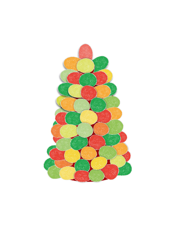A drawing of a Christmas tree made of multicolored gumdrops.