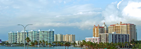 A photo of the skyline of Sarasota, Florida as seen from the Ringling Causeway
