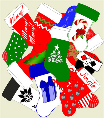 A jumble of Christmas stockings in various holiday colors and designs
