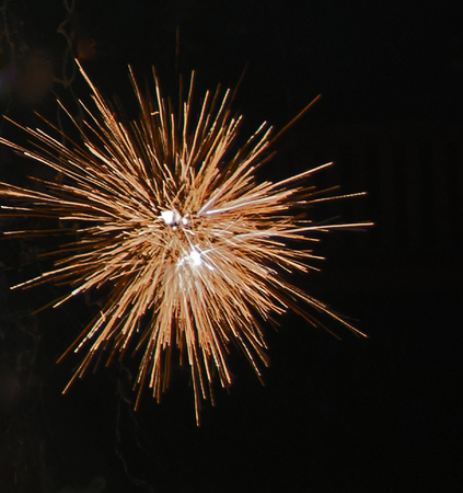 A photo of a fireworks display on the Fourth of July