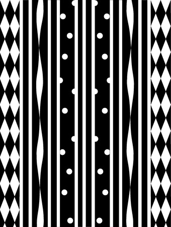An illustration of black and white stripes in harlequin patterns