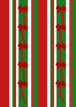 An illustration of stripes in the holiday colors of red, green, and white adorned with red ribbons and bows