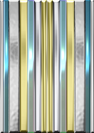 An illustration of metallic stripes in the hues of silver, gold, and light blue