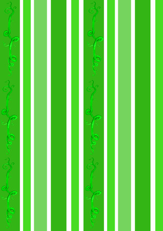 An illustration of stripes in the green colors of early spring enhanced with a green vine