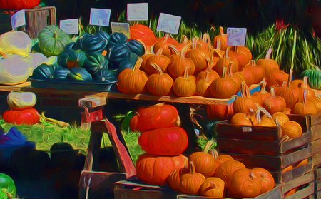 A digitally enhanced photo of an autumn harvest table piled high with pumpkins, squash and gourds for sale