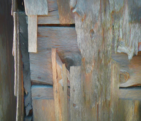 A digitally altered photograph of grey and weathered wood