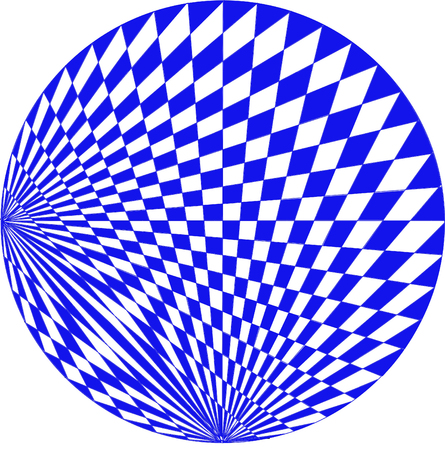 A circular graphic illustration creating patterns from two separate perspectives Stock Photo
