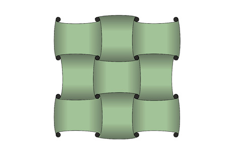 A graphic illustration of green strips molded into a weave pattern