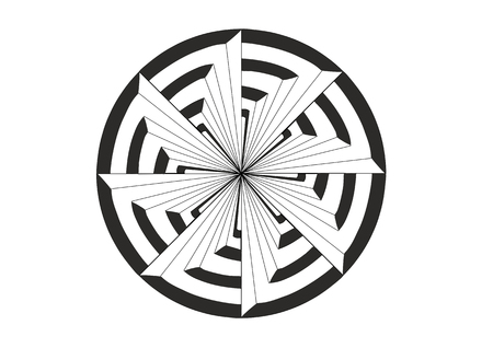 A graphic illustration of a whirligig in front of a target 写真素材 - 113317515