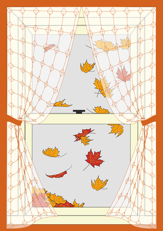 An illustration of fall colored leaves drifting past a double paned curtained window