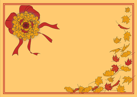 A bordered illustration for autumn featuring a red and gold football mum with red bows and ribbons as well as red and gold falling leaves