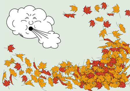 An illustration of an angry windy cloud blowing fallen autumn leaves around
