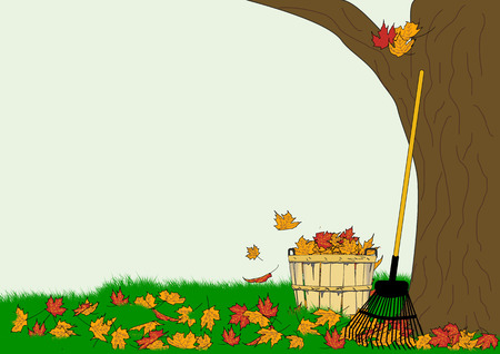 An illustration of a leaf rake and a bushel basket full of colorful autumn leaves on a background of a leaf-strewn lawn and a large tree
