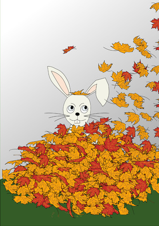 An illustration of a rabbit sitting up to his neck in a pile of colorful autumn leaves as more fall on him