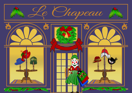Illustration of a French Boutique storefront specializing in hats that are displayed in the windows decorated for Christmas with a Victorian girl carrying shopping bags