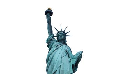 Statue of Liberty isolated on white, half-length, Manhattan New York Stok Fotoğraf