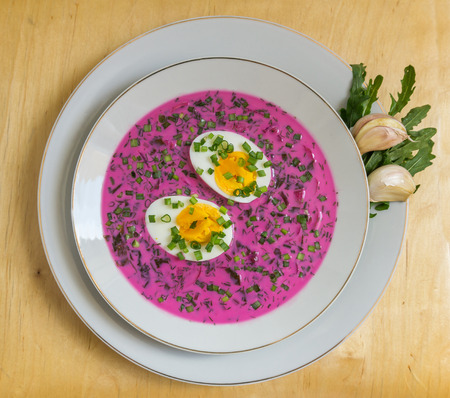 polish lithuanian: Cold beetroot soup with egg