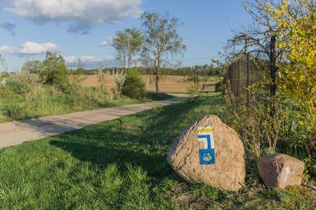 camino de santiago: Pilgrim sign Camino de Santiago Tourist signs Poland Stock Photo