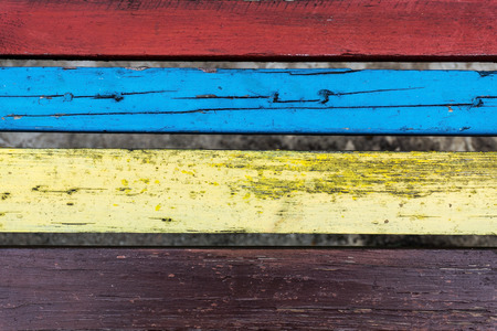 ageing: Old colourful planks background. Top view.