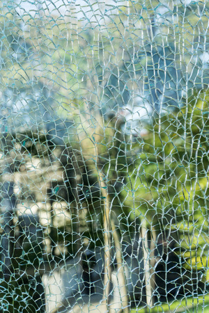 Park view  through the broken glass. Broken glass texture. Abstract background
