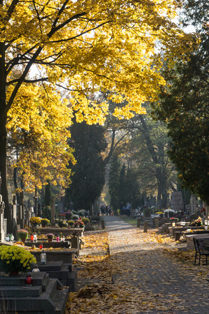 WARSAW, POLAND - October 31, 2015: Autumn on Brodno Cemetery - Cemetery Brdnowski, Brodzienski - old, monumental, cemetery - one of the largest cemeteries in Europe with more than 1.2 million burials.