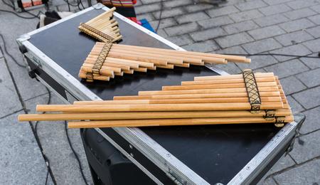 panpipe: Pan flutes, zampona, siku. Musical wind instruments. Folk music. Stock Photo