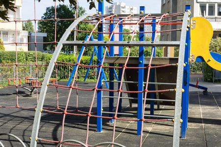 spiderman: Rope ladder - network to climb on the playground Stock Photo