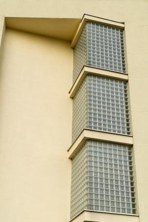glass brick: Modern architecture detail. Glass brick wall. Exterior view. Stock Photo