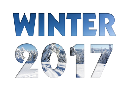 caption: Winter 2017 caption from winter mountains photo on white background for calendar, flyer, poster, postcard etc. Winter colors.