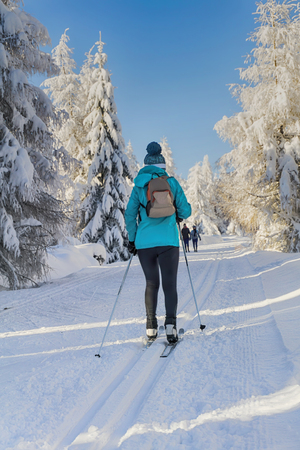 groomed: Winter road in mountains. Female skier on groomed ski trails for cross-country. Trees covered with fresh snow in sunny day in Giant Mountains, Giant Mountains, Poland.